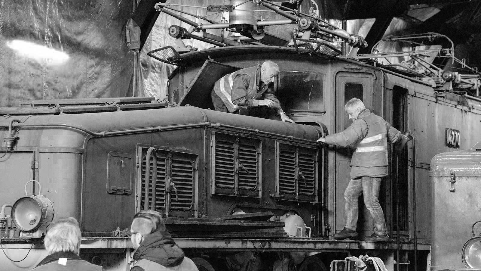 Die Krokodil-Lokomotive Nr. 14270 vor der Restaurierung